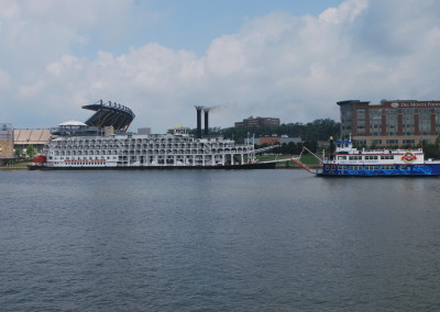 American Queen is docked at Pittsburgh and downriver bound for Louisville.   *  Photo: Ted Scull