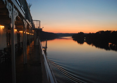 A still summer evening falls on the Ohio.    *  Photo: Ted Scull