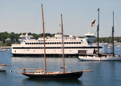 Ferry Island Home slips into Vineyard Haven. * Photo: Ted Scull