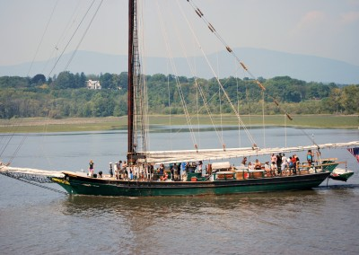 Passing the Clearwater on the Hudson.  *  Photo; Ted Scull