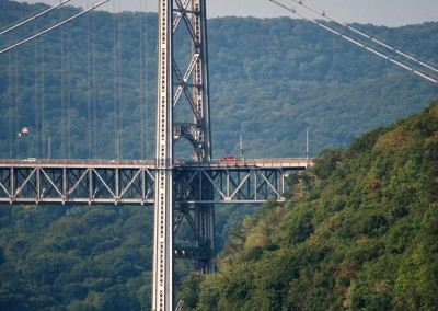 Bear Mountain Bridge and train heading north along the Hudson.  *  Photo: Ted Scull