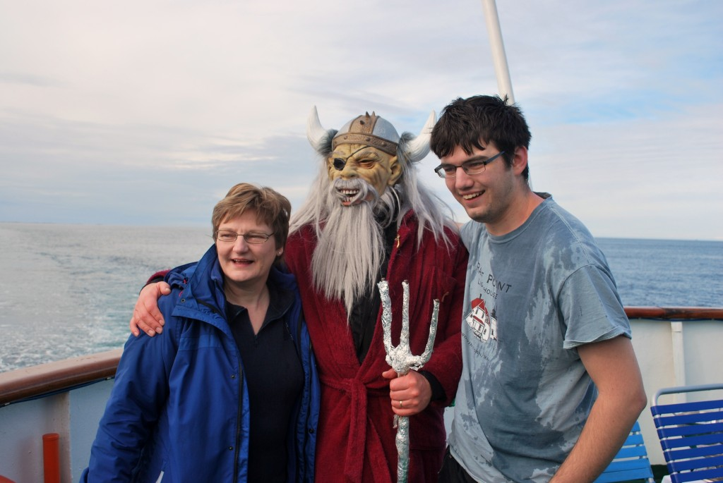 King Neptune and passenger right after the Arctic Circle initiation. * Photo: Ted Scull