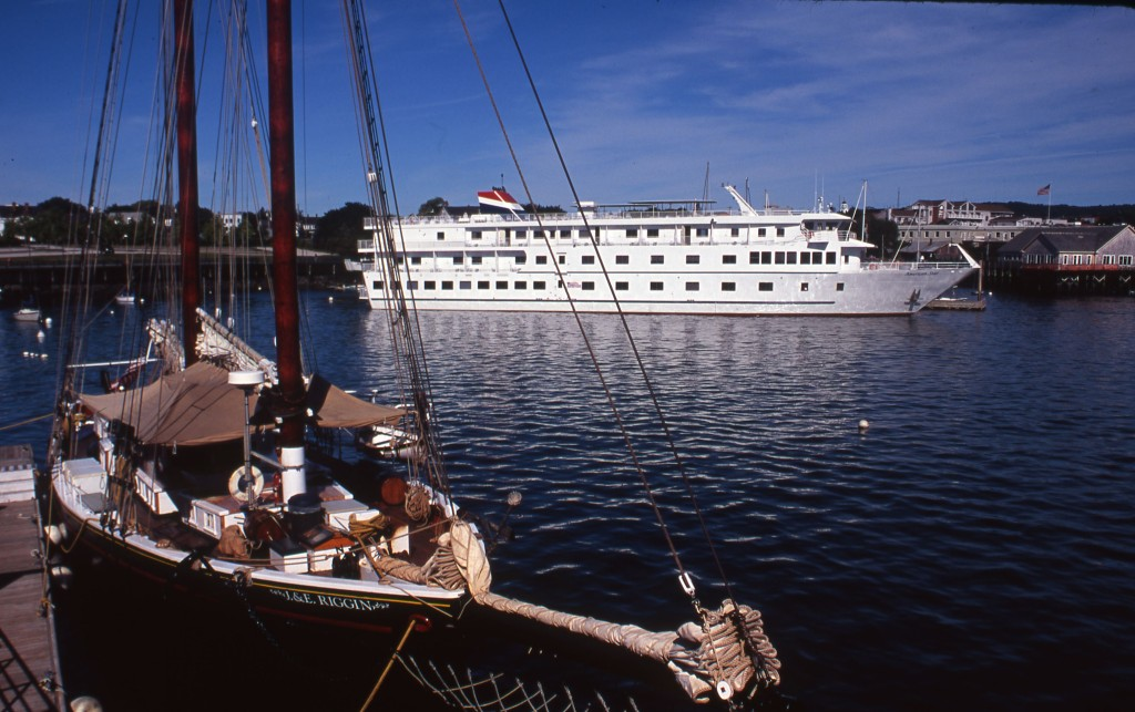 American Star at Rockland with a Maine Windjammer extreme left. * Photo: Ted Scull
