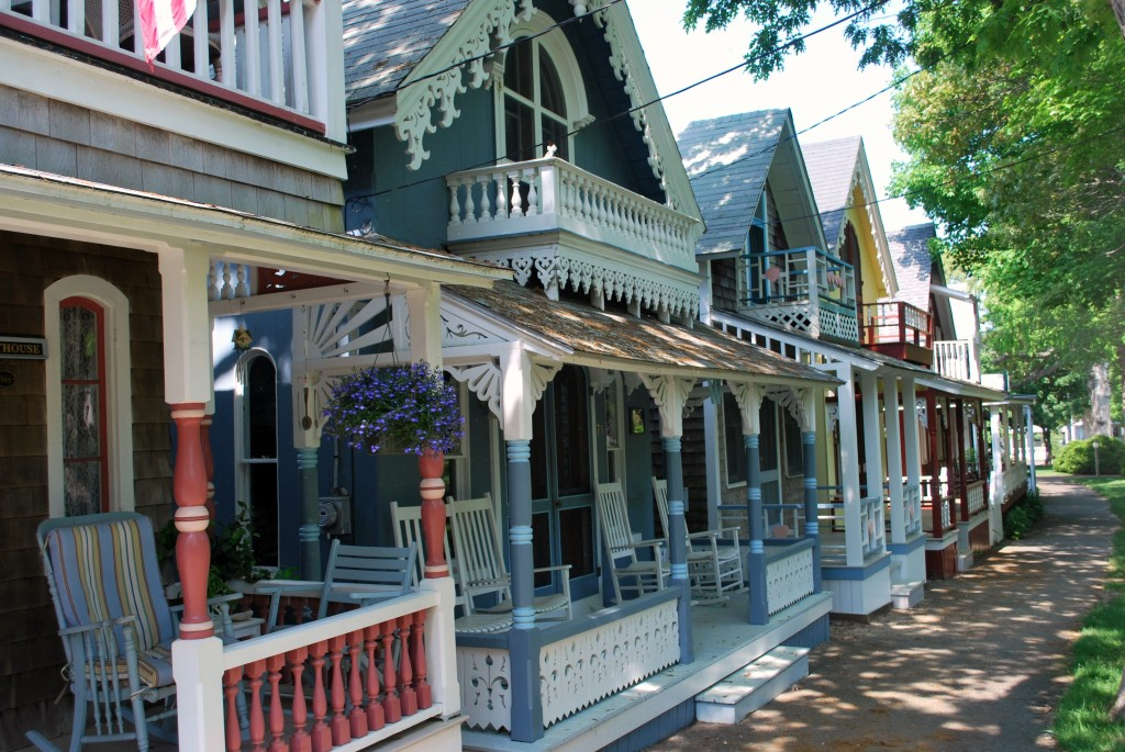 A lovely row of gingerbread Victorian at Oak Bluffs, Martha's Vineyard. * Photo: Ted Scull