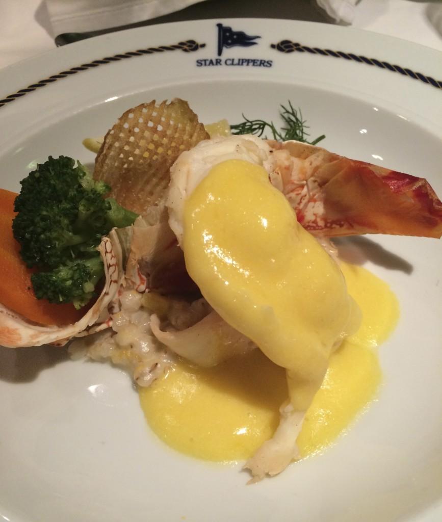 Delish broiled lobster for dinner on board. Photo © Heidi Sarna