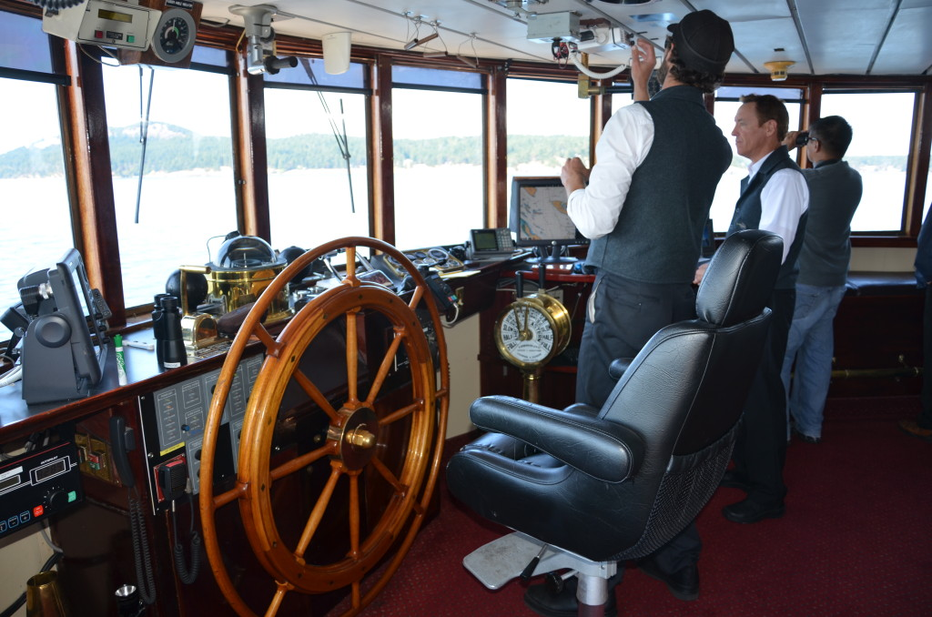 The wheelhouse is open to passengers at most times. * Photo: Ted Scull
