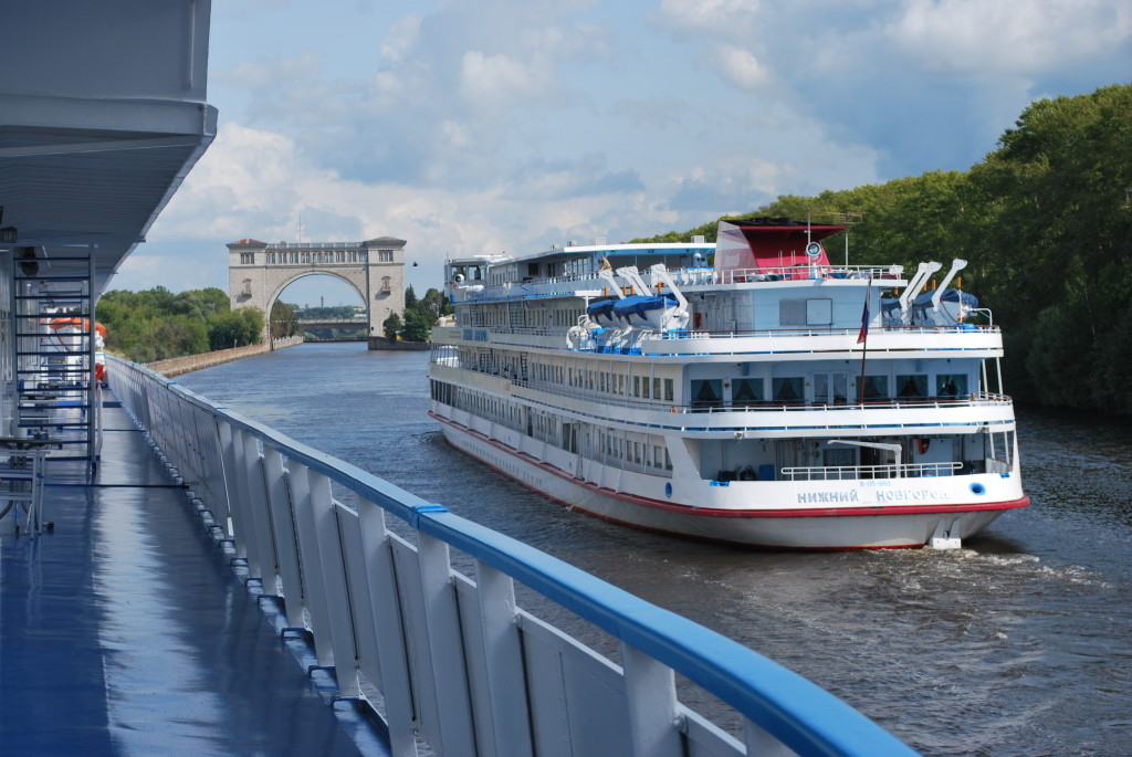 A Russian riverboat passes en route to the next lock. * Photo: Ted Scull