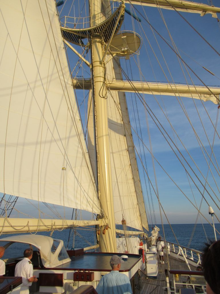 Sunset through the sails