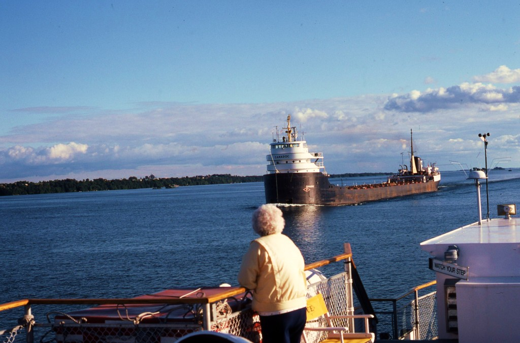 Meeting an ore carrier on the St. Lawrence. * Photo: Ted Scull