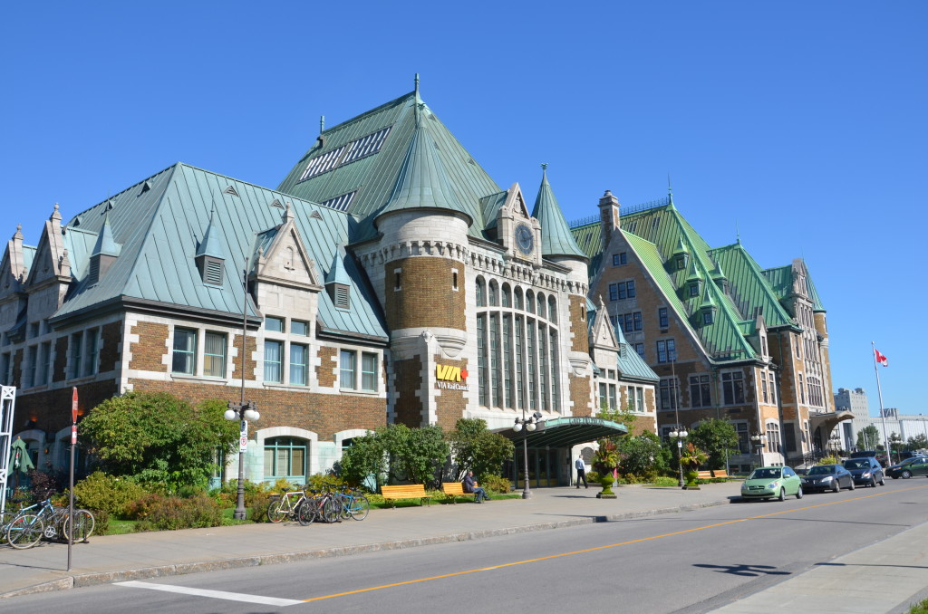 Chateau-style Via Rail Canada station at Quebec City. * Photo: Ted Scull