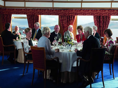 Dining aboard the Hebridean Princess. * Photo: Hebridean Island Cruises