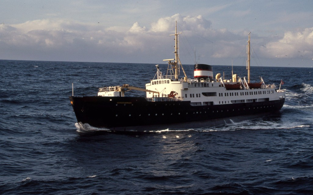 Nordstjernen, built 1956, taken in an earlier guise in Hurtigruten service. * Photo: Ted Scull