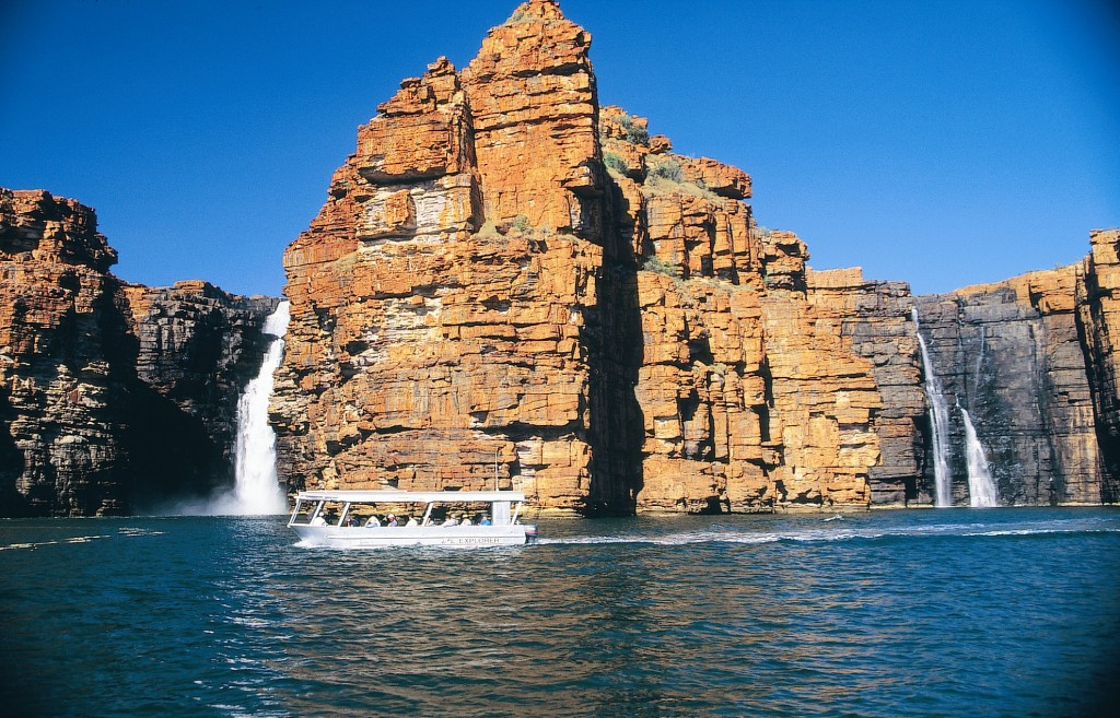Cruising past the waterfalls along the Kimberley Coast. * Photo: Coral Expeditions