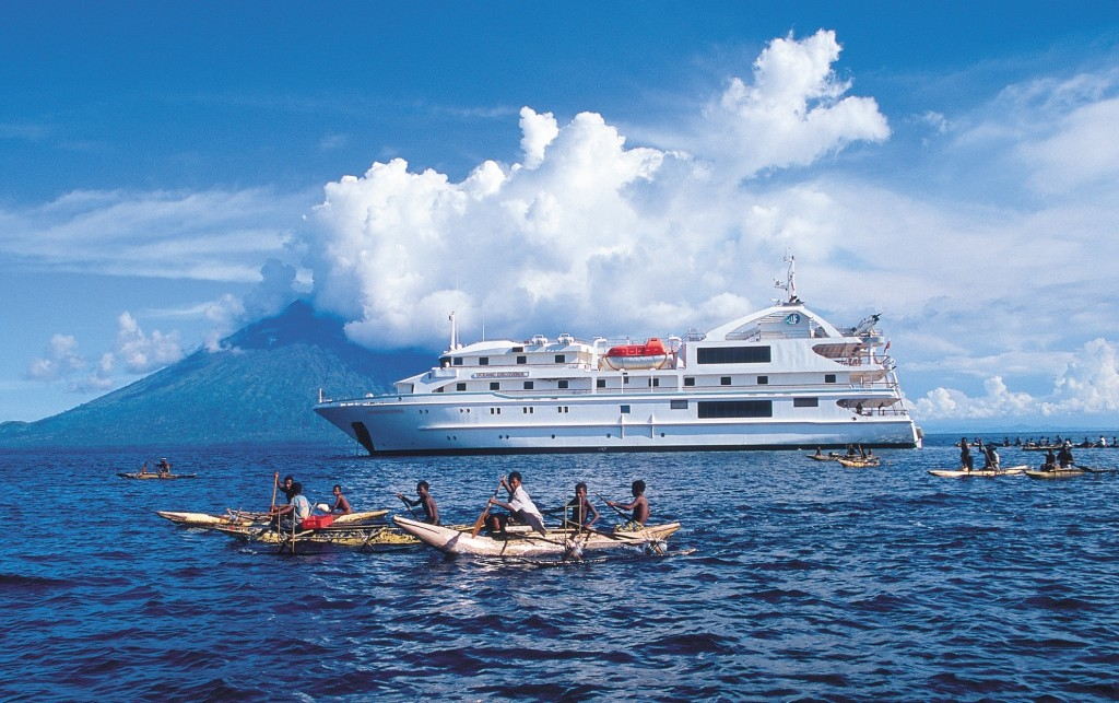 Coral Discoverer off Manum Island, Papua New Guinea. * Photo: Coral Expeditions