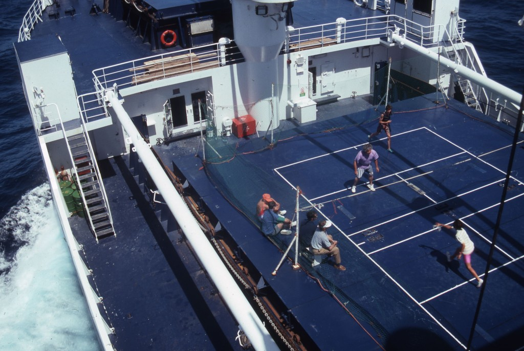 Deck tennis on the forward hold. * Photo: Ted Scull