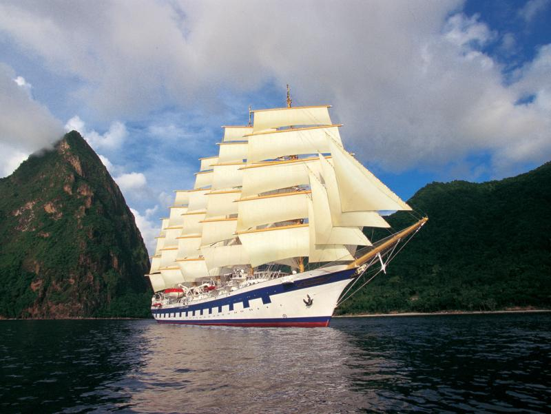 Royal Clipper under full sail.