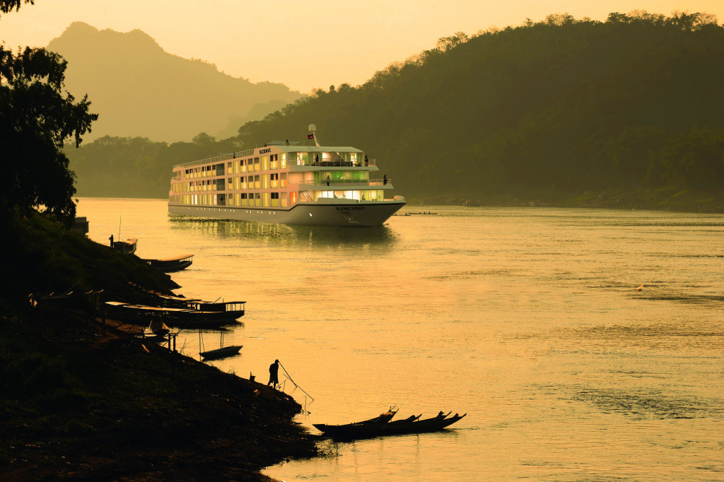 Scenic Spirit seen in the early evening on the Mekong River. * Photo: Gillies and Zeiser