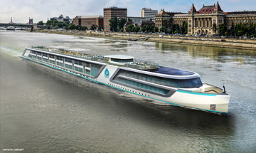 An artist rendering of one of Crystal's upcoming luxe river yachts. * Photo: Crystal River Cruises