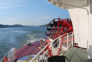 The impressive stern wheel. * Photo: Ted Scull