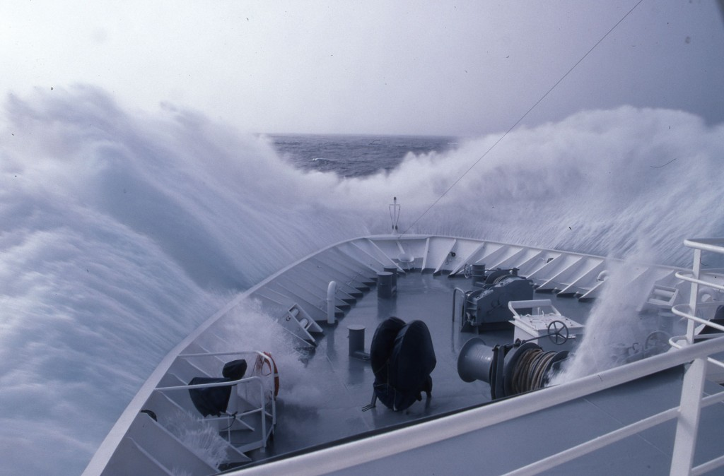 Cowabunga dude!! That's some wave action on the Drake Passage. * Photo: Ted Scull