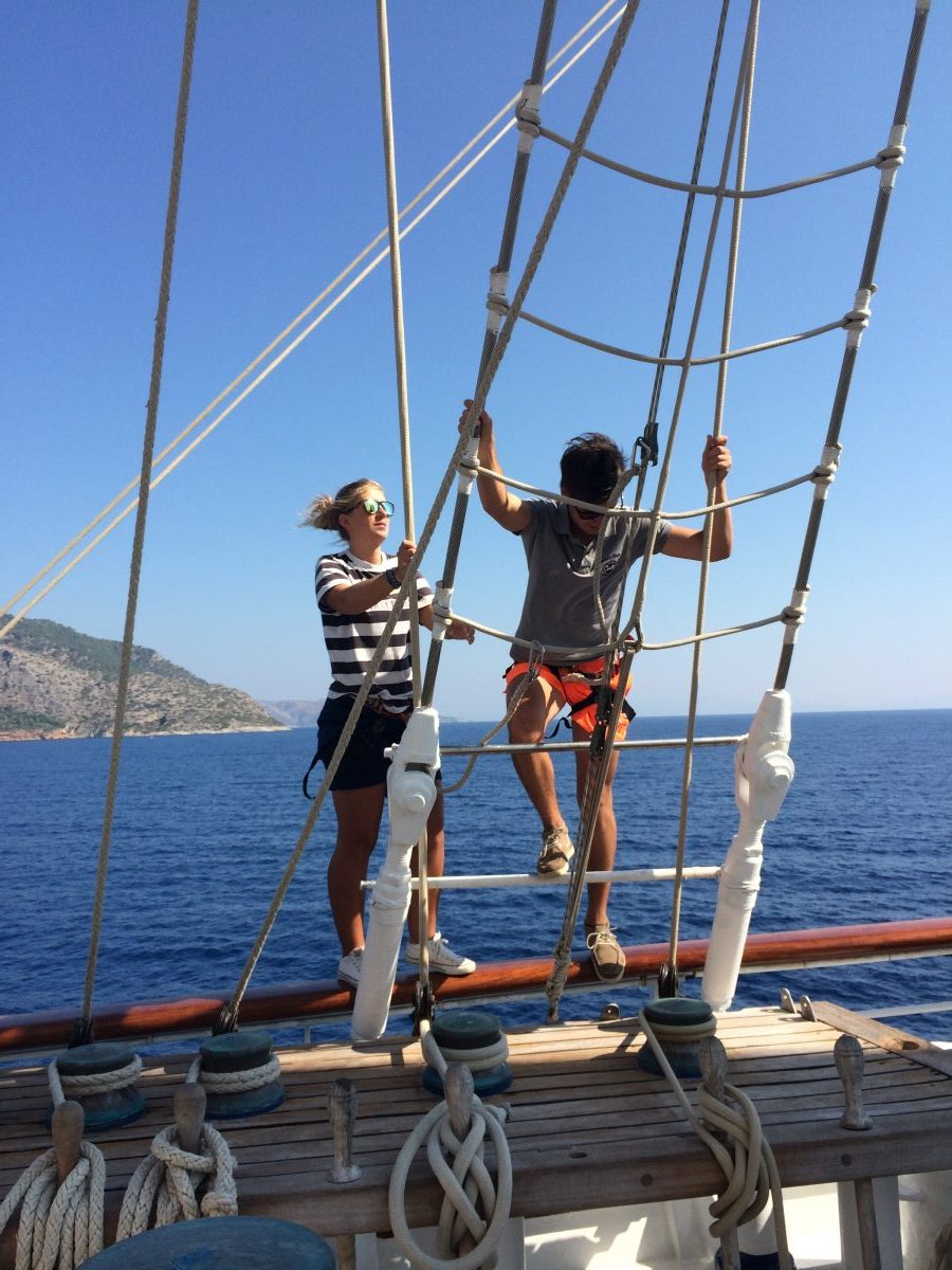 Climbing the masts on a Star Clippers Greek Isles Cruise
