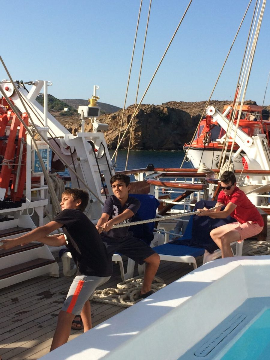 Pulling up the sails on a Star Clippers Greek Isles Cruise