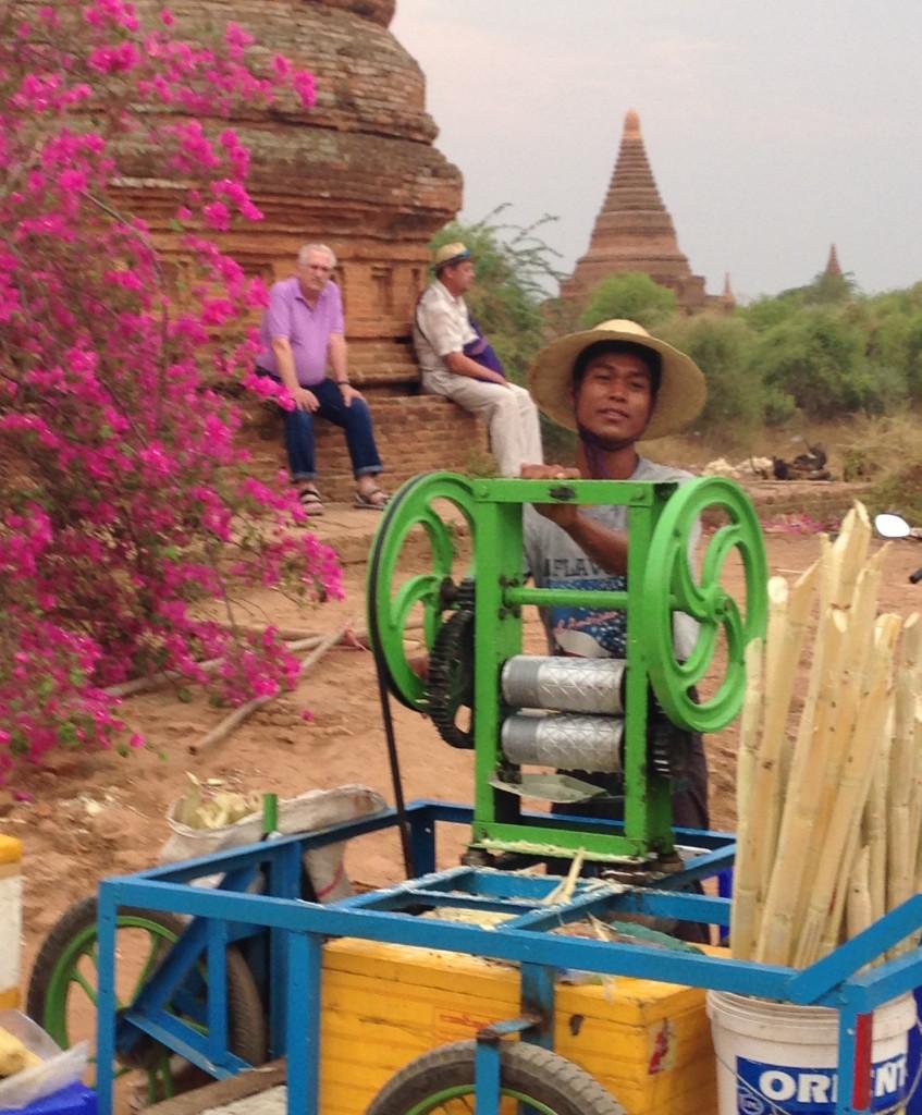Fresh squeezed sugar cane juice in Bagan. * Photo: Sheila Healey