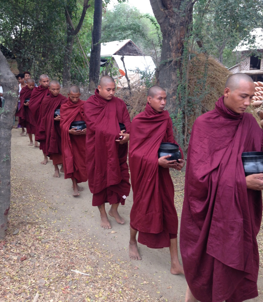 A procession of monks in the village of Yandabo. * Photo: Heidi Sarna
