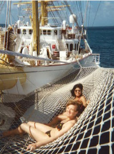 Lounging in the bow sprit net is a cheap thrill! * Photo: Heidi Sarna