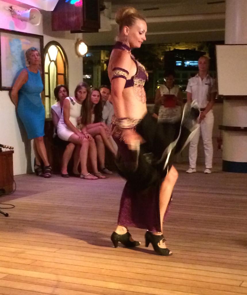 Local belly dancer brought on board for a performance in Kusadasi, Turkey. * Photo: Heidi Sarna