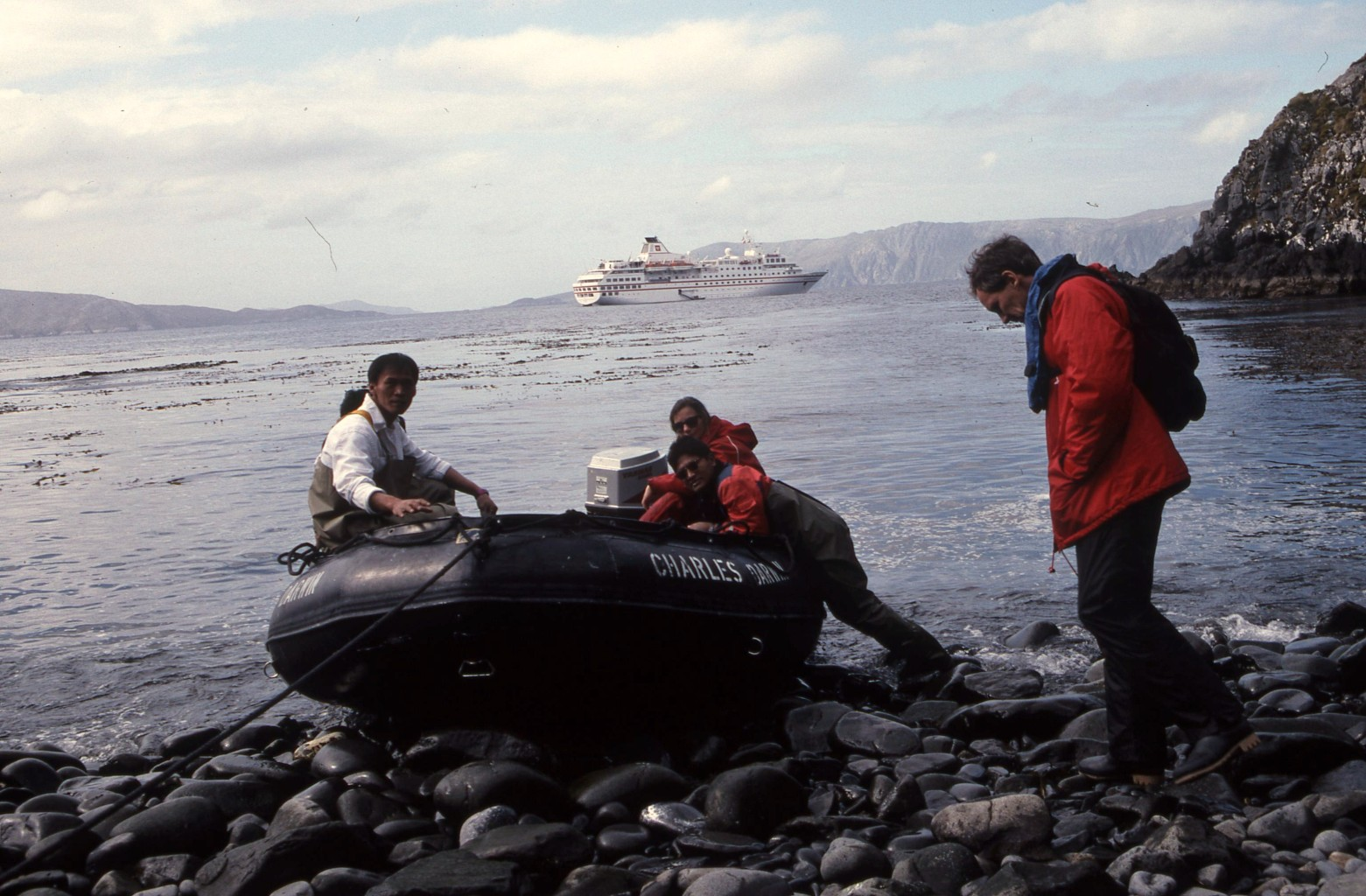 On expedition ships you need to be nimble to hop in and out of zodiac boats. * Photo: Ted Scull