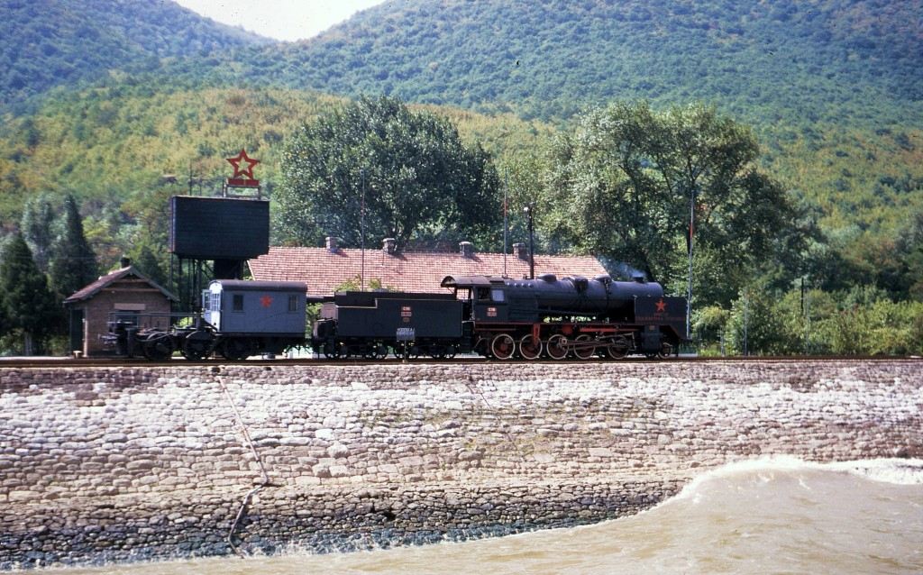 A steam locomotive awaits the next ship to tow up through the Iron Gate. * Photo: Ted Scull