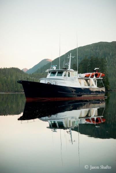 MV Atlas at anchor. * Photo: Jason Shafto