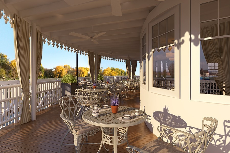 Sheltered outdoor space for viewing passing scene. * Photo: French America Line