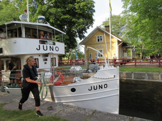 The Juno plying Sweden's Gota Canal