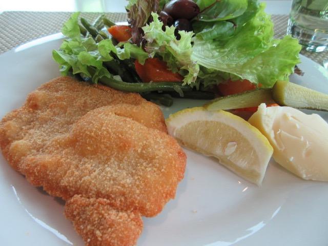 Wienershnitzel (pork) for lunch on board. * Heidi Sarna