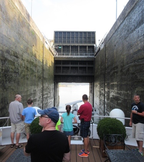 Passing through one of the 10 locks on a typical 7-night Rhine itinerary. * Photo: Heidi Sarna