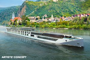 Rendering of Crystal's new river boats. * Crystal Cruises