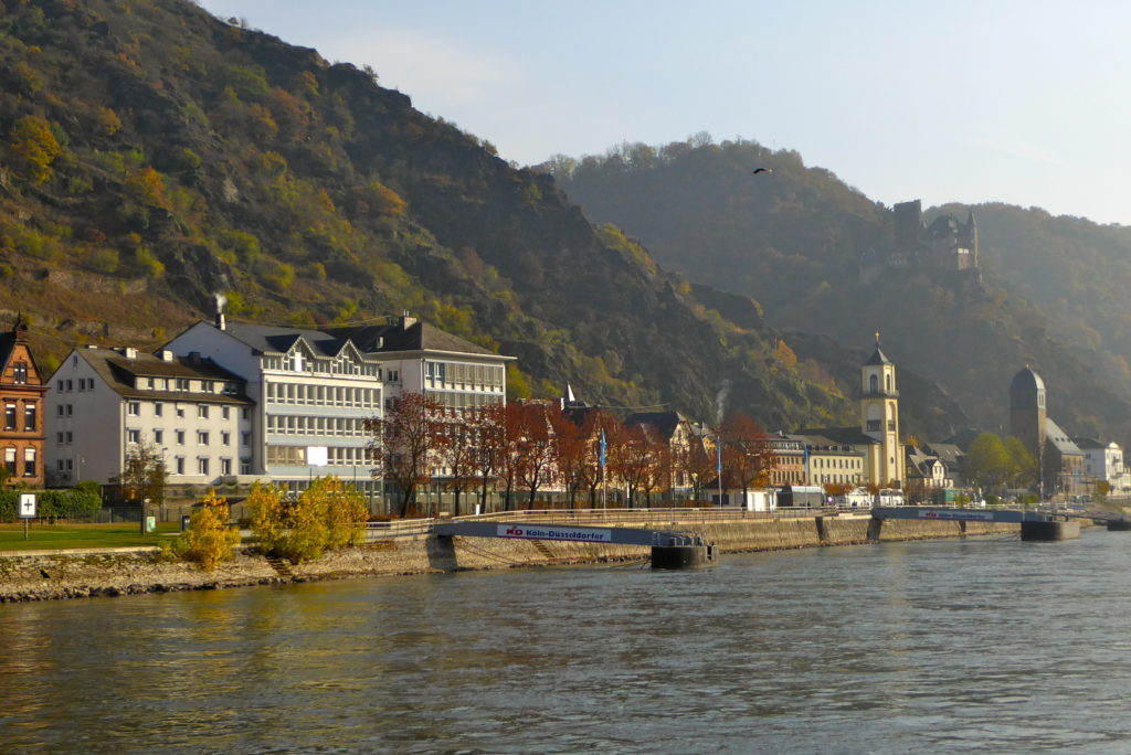 small ship cruising on the Rhine with AMACERTO