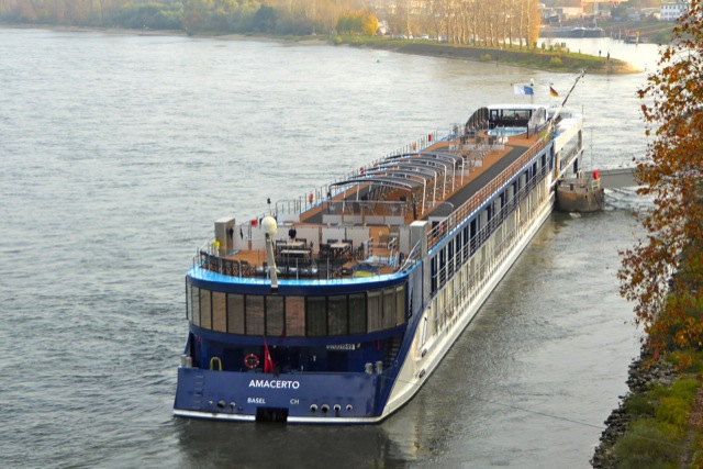 small ship cruising on the Rhine River aboard AMACERTO
