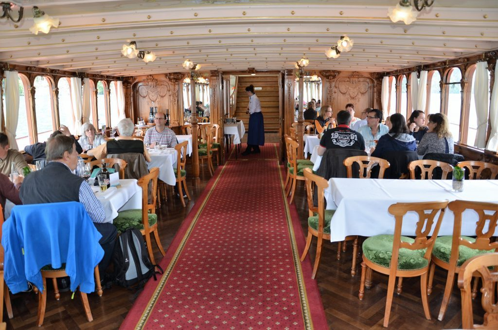 First class dining salon aboard 1902-built sidewheeler Interwalden on Lake Lucern. * Photo: Ted Scull