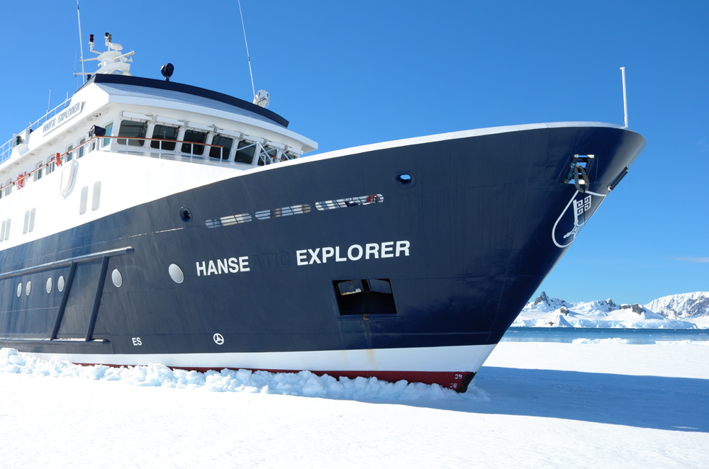"""M/Y Hanse Explorer """"parked"""" in shore-fast ice. * Photo: Richard White"""