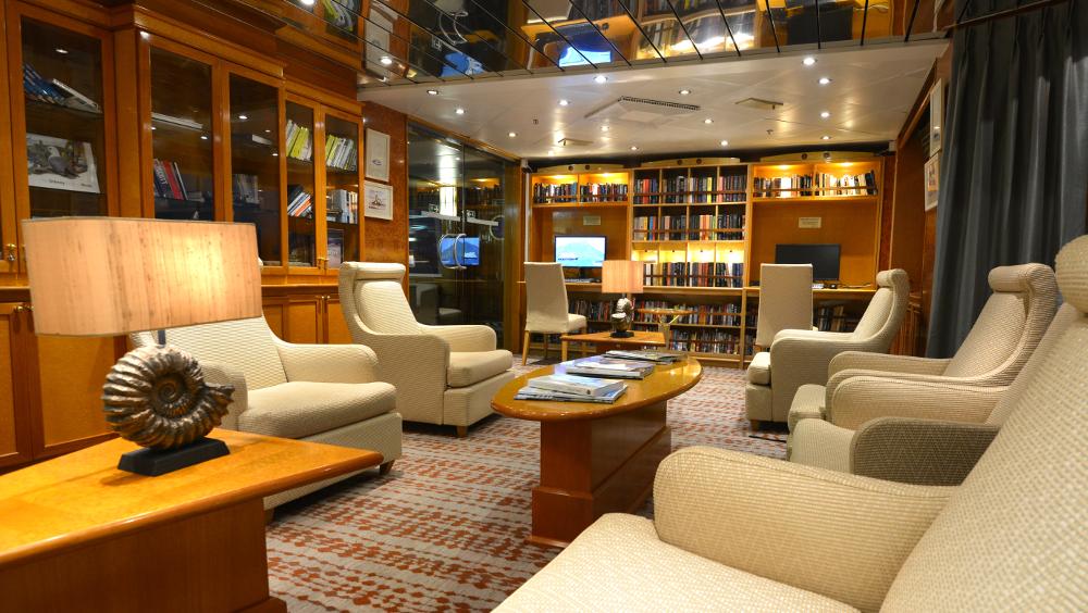 Library aboard Hebridean Sky. * Photo: Polar Latitudes