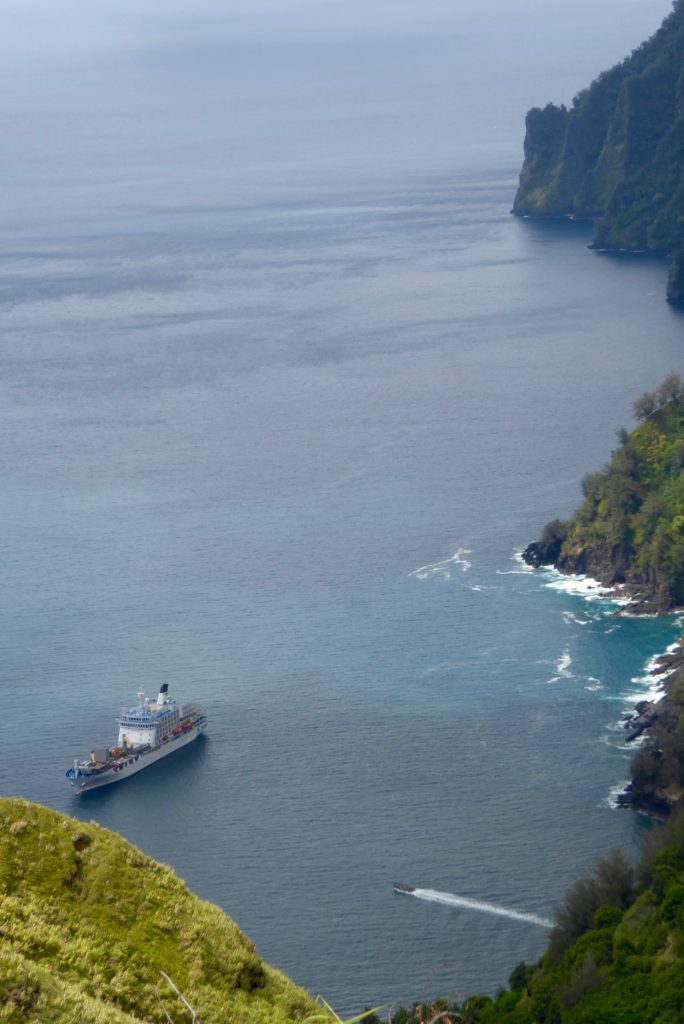 ARANUI Cruises calls at Hanavave.