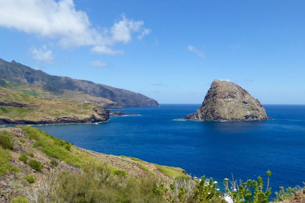 Ua Huka coastline with Aranui cruises