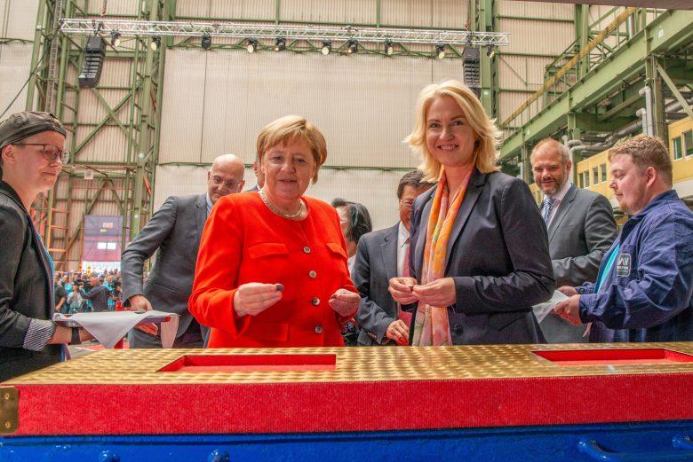German Chancellor Presides Over Crystal Endeavor Keel-Laying