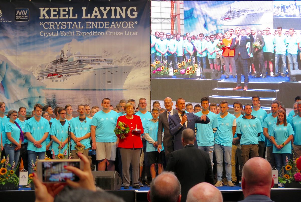 German Chancellor Presides Over Crystal Endeavor Keel-Laying