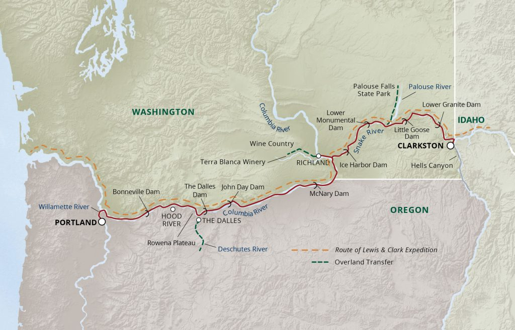 Columbia & Snake Rivers itinerary