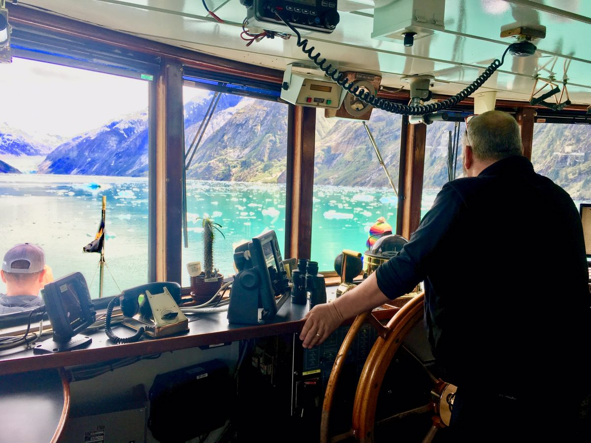 On the Bridge with Captain Voss heading towards Dawes Glacier