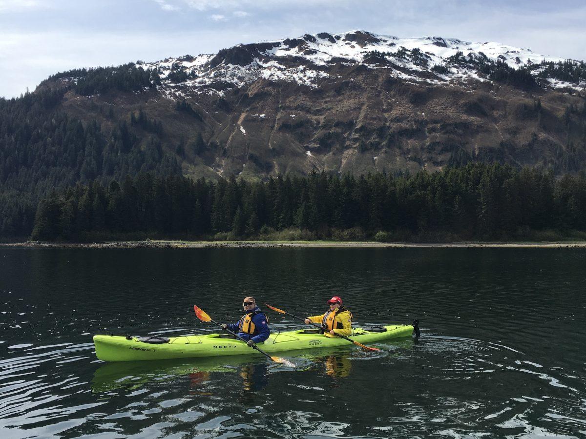 Judi and Lawrence free-kayaking in Neka Bay